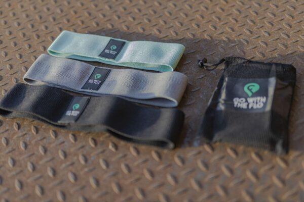 3er Set GoWithTheFlo Minibands in 3 Stärken mit Tasche am Boden